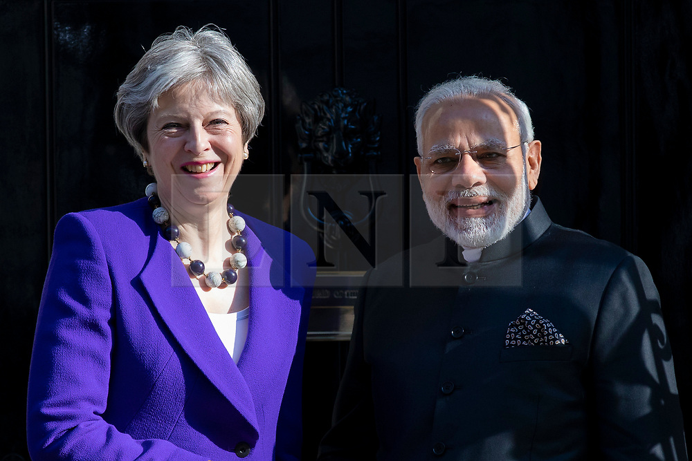© Licensed to London News Pictures. 18/04/2018. London, UK.Prime Minister Theresa May (L) and Indian Prime Minister Narendra Modi (R) meet at 10 Downing Street. Photo credit: Rob Pinney/LNP
