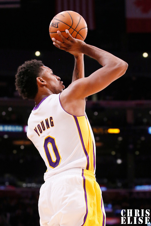 17 November 2013: Los Angeles Lakers small forward Nick Young (0) takes a jumpshot during the Los Angeles Lakers 114-99 victory over the Detroit Pistons at the Staples Center, Los Angeles, California, USA.