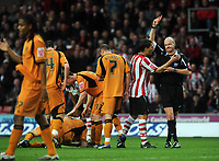 St Mary's Ground Southampton v Wolverhampton Wanderers Championship 15/11/2008<br /> Despite Rudi Skacel's appeal to referee  Lee Jones, Jason Euell (Southampton) is sent off <br /> Photo Roger Parker Fotosports International