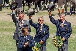Team Belgium, Silver medal, Brasseur Felix, Standaert Valere, Van Dijck Eddy, BEL<br /> World Equestrian Games Den Haag 1994<br /> © Hippo Foto - Dirk Caremans<br /> 21/12/2017