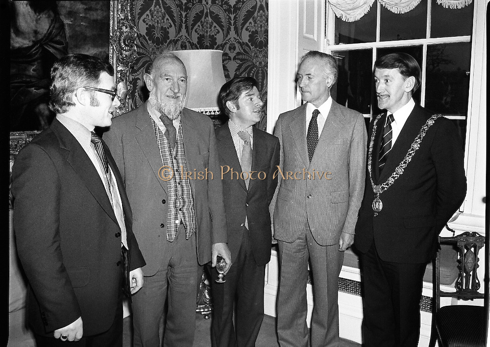 Cork School Of Music..Centennial Concert At Trinity College, Dublin. (M64)..1979..01.04.1979..04.01.1979..1st April 1979..An Taoiseach,Mr Jack Lynch TD,was guest of honour at Cork School of Music,Centennial Concert presented by The Music Association of Ireland. The concert was sponsored by Raybestos Manhattan, McCullogh-Piggot Ltd and Trinity College Dublin.The event took place in the examination hall in the college..Image shows (L-R), Mr Pat Hackett,Managing Director,Raybestos Manhattan, Dr Brian Boydell, Mr Pat O'Kelly,President of the Music Association of Ireland, Dr F S Lyons, Provost,Trinity College and Councillor Brian Stone, Lord Mayor of Cork at the concert.