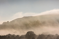 © Licensed to London News Pictures. 03/07/2015. Harrogate, UK. Picture shows early morning fog over fields near Harrogate. Hailstones the size of golf balls and fierce lightning storms battered homes yesterday but blue skies are set to return today . Temperatures are set to soar to 29C (82F) today. Photo credit : Andrew McCaren/LNP
