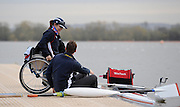Caversham, GREAT BRITAIN,   GB, Women's,  Helene RAYNSFORD, GBR AW1X,, sitting with coach, Chad KING [Chief Coach, GB Rowing Adaptive Squard] [Chief Coach, GB Rowing Adaptive Squard] seated on the decking , GB Rowing,  Adaptive Rowing Media Day [athletes training for the Beijing Paralympics] [Mandatory Credit, Peter Spurrier / Intersport-images Rowing course: GB Rowing Training Complex, Redgrave Pinsent Lake, Caversham, Reading