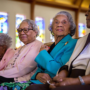 WASHINGTON, DC - MAR09:  (L-R) Ruth Hammett, Gladys Butler, Bernice Underwood, and Leona Barnes, will all turn 100 this year, at the Zion Baptist Church, March 9, 2016, in Washington, DC. These four women have been friends since they grew u together in southwest DC before the area was destroyed under eminent domain. (Photo by Evelyn Hockstein/For The Washington Post)