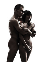 one  beautiful young naked couple portrait y in silhouette studio on white background
