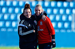 SAINT PETERSBURG, RUSSIA - Monday, October 23, 2017: Wales' Angharad James and captain Sophie Ingle during a training session at the Petrovsky Minor Sport Arena ahead of the FIFA Women's World Cup 2019 Qualifying Group 1 match between Russia and Wales. (Pic by David Rawcliffe/Propaganda)