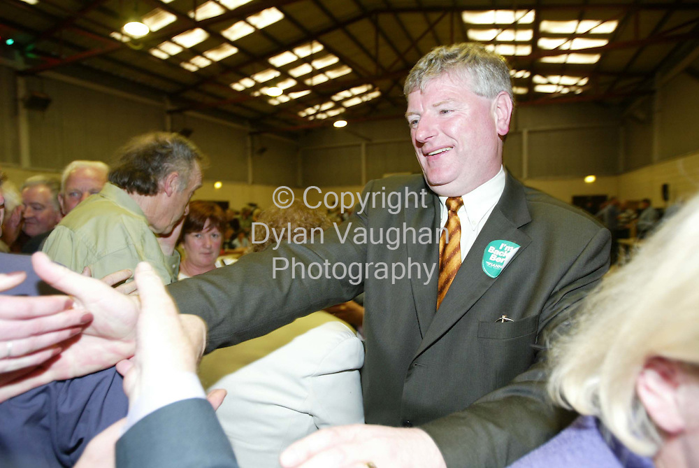 18/5/2002 .Fianna Failks Liam Aylward pictured after being elected on  the first count in the Carlow Kilkenny count in the community centre in Thomastown County Kilkenny..Picture Dylan Vaughan