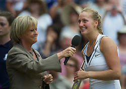 LONDON, ENGLAND - Saturday, July 2, 2011: Petra Kvitova (CZE) is interviewed by the BBC's Sue Barker after winning the Ladies' Singles Final on day twelve of the Wimbledon Lawn Tennis Championships at the All England Lawn Tennis and Croquet Club. (Pic by David Rawcliffe/Propaganda)
