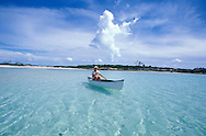 fully released, canoeing on lagoon, Fernandez Bay Village, Cat Island, Bahamas