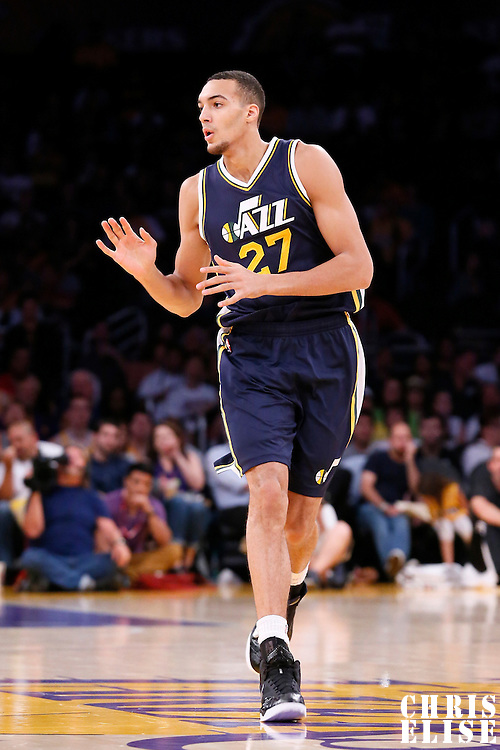 19 October 2014: Utah Jazz center Rudy Gobert (27) runs the court during the Los Angeles Lakers 98-91 victory over the Utah Jazz, in a preseason game, at the Staples Center, Los Angeles, California, USA.