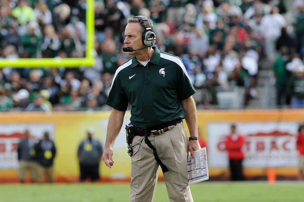 January 2, 2012: Mark Dantonio of Michigan State in action during the NCAA football game between the Michigan State Spartans and the Georgia Bulldogs at the 2012 Outback Bowl at Raymond James Stadium in Tampa, Florida. The Spartans defeated the Bulldogs 33-30.