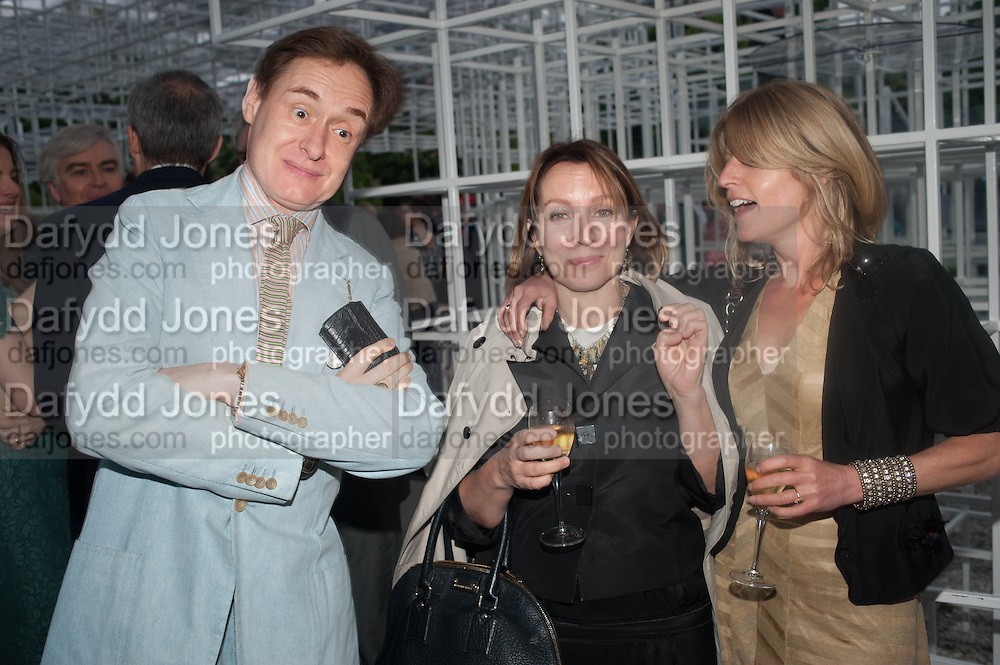 NICK FOULKES; SARAH SANDS; RACHEL JOHNSON, The Serpentine Summer Party 2013 hosted by Julia Peyton-Jones and L'Wren Scott.  Pavion designed by Japanese architect Sou Fujimoto. Serpentine Gallery. 26 June 2013. ,