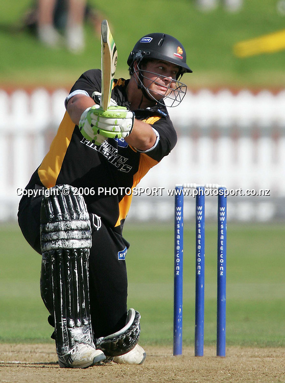 Wellington Firebirds batsman Jesse Ryder plays a cover drive during the State Shield semi final between the State Wellington Firebirds and the State Auckland Aces held at the Basin Reserve in Wellington, New Zealand on Tuesday, 6 February, 2007. Auckland won the match by 71 runs. Photo: Tim Hales/PHOTOSPORT