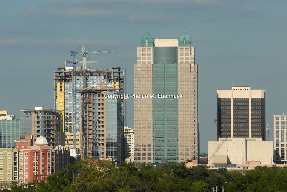 A view of the downtown Orlando, Florida, skyline with the Premiere Trade Plaza while under construction.