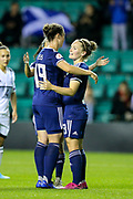 Kim Little (#8) of Scotlandcelebrates Scotland's fourth goal (4-0) with Zoe Ness (#19) of Scotland during the Women's Euro Qualifiers match between Scotland Women and Cyprus Women at Easter Road, Edinburgh, Scotland on 30 August 2019.