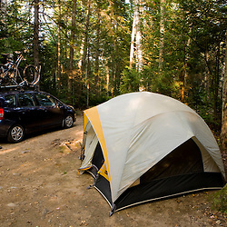 Bikes on a car at a campsite at Moose Brook State Park in Gorham, new Hampshire.
