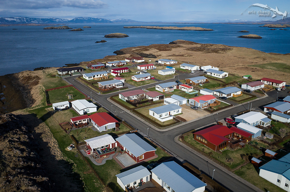 Aerial Stykkishólmur, on the Snæfellsnes peninsula, Iceland