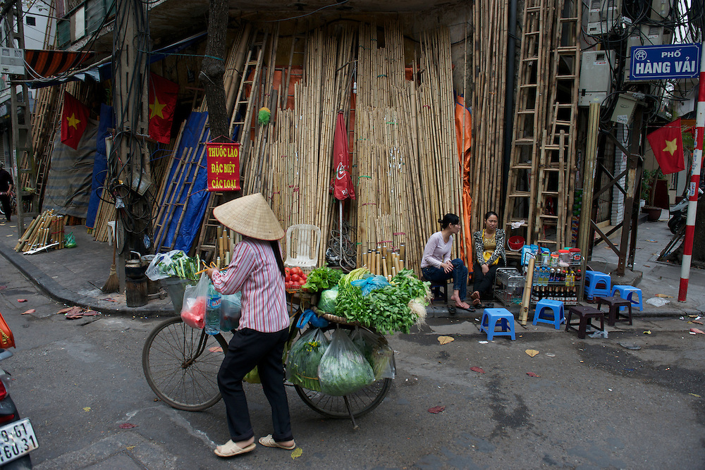 """""""Bamboo Street"""" in the Old Quarter."""