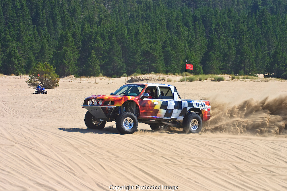 Ultra Motorsports custom built off road truck being tested at the Sandlake Dunes Recreation Area in Oregon.