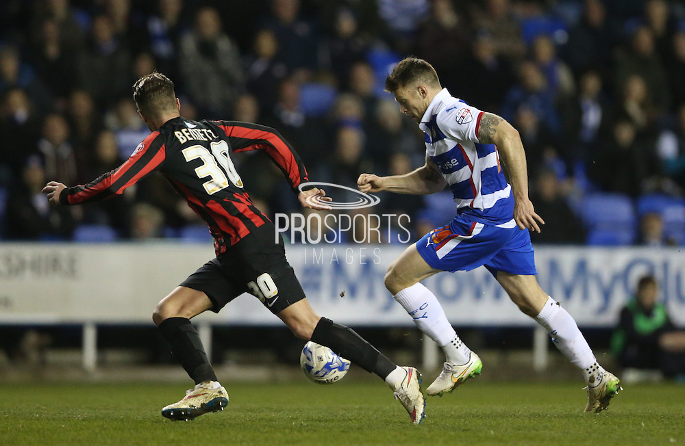 Reading striker Jamie Mackie makes it 1-0 during the Sky Bet Championship match between Reading and Brighton and Hove Albion at the Madejski Stadium, Reading, England on 10 March 2015.