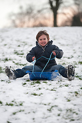 © Licensed to London News Pictures. 15/01/2013. Sheffield, UK. Children go sledging in Meersbrook Park, Sheffield. It is the second day of snow in Sheffield. Photo credit : David Mirzoeff/LNP