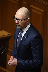 Ukrainian former Prime Minister Arseniy Yatsenyuk speaks at a parliament session after parliament accepted his resignation in Kiev, Ukraine on April 14, 2016. The Ukrainian parliament approved the formation of a new cabinet on Thursday following a replacement of the prime minister. EXPA Pictures © 2016, PhotoCredit: EXPA/ Photoshot/ Xinhua<br /> <br /> *****ATTENTION - for AUT, SLO, CRO, SRB, BIH, MAZ, SUI only*****
