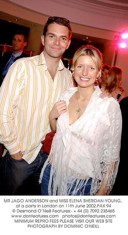 MR JAGO ANDERSON and MISS ELENA SHERIDAN-YOUNG, at a party in London on 11th June 2002.	PAX 94