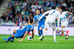 Josip Iličić of Slovenia and Hatem Elhamed of Israel during the 2020 UEFA European Championships group G qualifying match between Slovenia and Israel at SRC Stozice on September 9, 2019 in Ljubljana, Slovenia. Photo by Grega Valancic / Sportida