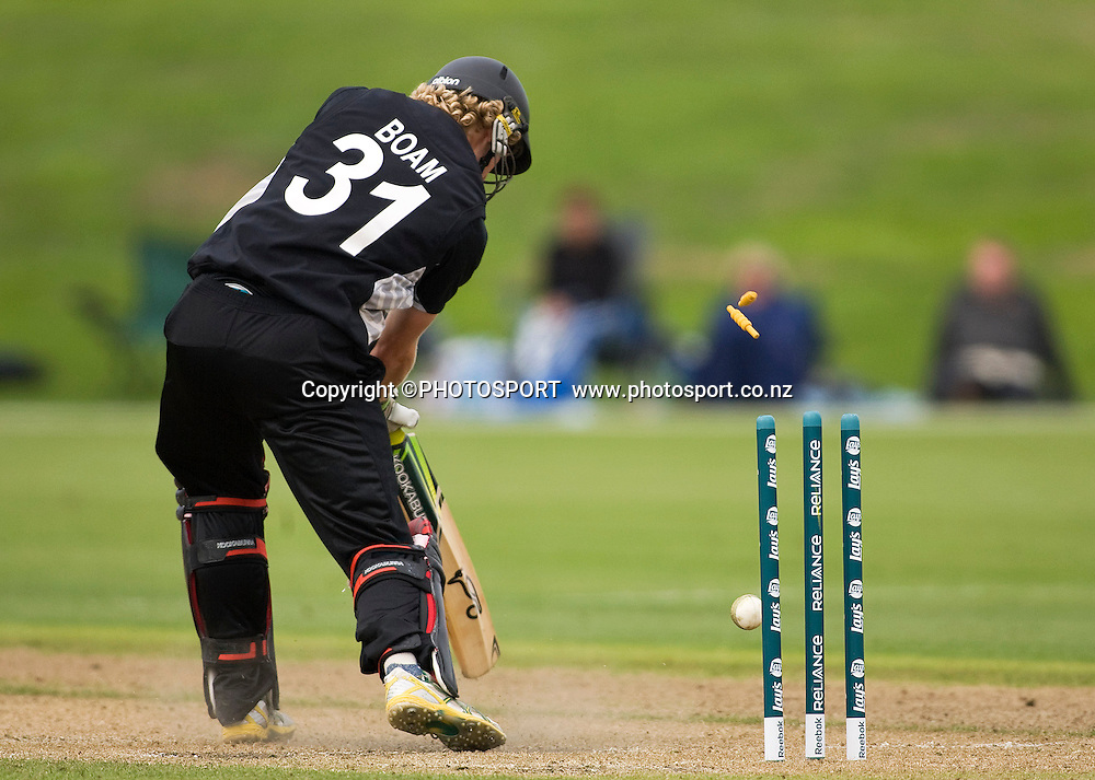 New Zealand batsman Harry Boam is bowled by Nathan Buck. New Zealand v England, U19 Cricket World Cup SL 7th-8th Place, Village Green, QEII, Christchurch, Tuesday 26 January 2010. Photo : Joseph Johnson/PHOTOSPORT
