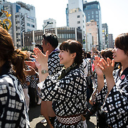 TOKYO, JAPAN - MAY 21: Festival participants clap as they band together to carry a 'mikoshi' (portable shrines) during the Sanja Festival in Asakusa, Tokyo on May 21, 2017. These mikoshi is carried in the streets of Asakusa to bring luck, blessings and prosperity to the area and its inhabitants. (Photo: Richard Atrero de Guzman/NUR Photo)