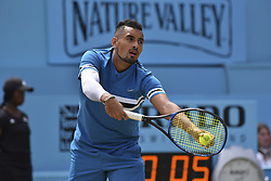 June 23, 2018 - London, England, United Kingdom - Nick Kyrgios of Australia serves during the semi final singles match on day six of Fever Tree Championships at Queen's Club, London on June 23, 2018. (Credit Image: © Alberto Pezzali/NurPhoto via ZUMA Press)