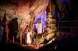 Actors perform during the Living Nativity Scenes inside Postojna Cave, on December 21, 2017 in Postojna, Slovenia. Living Nativity Scene is staged along a 5 km long path through the world-famous Postojna Cave in Slovenia with some 200 people performing and working. Photo by Vid Ponikvar / Sportida