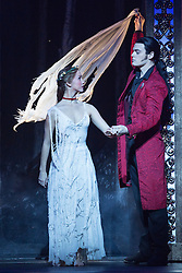"© Licensed to London News Pictures. 04/12/2015. London, UK. Ashley Shaw as Aurora and Chris Marney as Count Lilac. Matthew Bourne's ""Sleeping Beauty"", a Gothic Romance, is performed at Sadler's Wells from 1 Dec 2015 - 24 Jan 2016. Photo credit: Bettina Strenske/LNP"