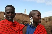 Africa, Tanzania, Maasai couple an ethnic group of semi-nomadic people February 2006
