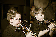 Liam Conner and Colin Cooper, both on trumpets, joined String Theory during their performance at The Bus Stop Miusic Cafe in Pitman, NJ.