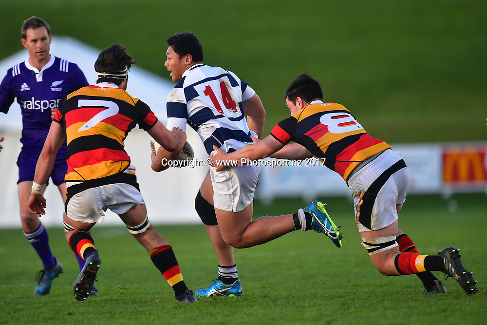 Aucklands Caleb Clarke (C is tackled by Waikatos captain Jacob Norris (L) and Waikatos Jackson Morgan during the Jock Hobbs Memorial trophy final rugby match between the Auckland and Waikato at Owen Delany Park in Taupo on Saturday the 16th September 2017. Copyright Photo by Marty Melville / www.Photosport.nz