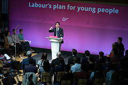 © Licensed to London News Pictures . 27/02/2015 . Leeds , UK . ED MILIBAND launches the Labour Party's fourth election pledge at a speech on young people . British Labour Party leader Ed Miliband and Shadow Chancellor Ed Balls at Leeds College of Music today ( Friday 27th February 2015 ) . Photo credit : Joel Goodman/LNP