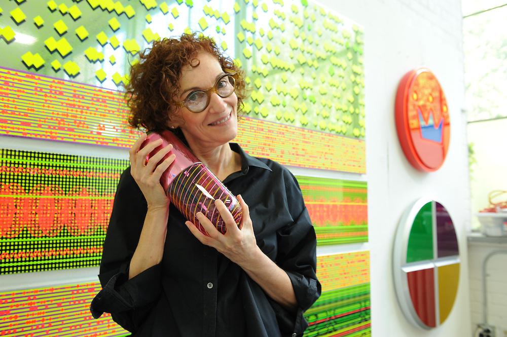 Artist Beverly Fisherman at her studio at Cranbrook Academy of Art in Bloomfield Hills near Detroit, Michigan, USA. Her art work often depict large pharmaceutical or illegal pills and drugs.<br /> <br /> Art in Detroit 2013<br /> &copy; Stefan Falke<br /> www.stefanfalke.com