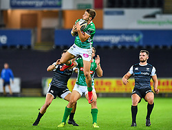 Luca Sperandio of Benetton Treviso takes there high ball<br /> <br /> Photographer Craig Thomas/Replay Images<br /> <br /> Guinness PRO14 Round 4 - Ospreys v Benetton Treviso - Saturday 22nd September 2018 - Liberty Stadium - Swansea<br /> <br /> World Copyright © Replay Images . All rights reserved. info@replayimages.co.uk - http://replayimages.co.uk