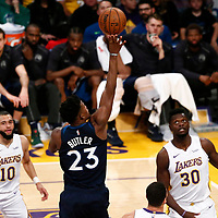 25 December 2017: Minnesota Timberwolves guard Jimmy Butler (23) goes for the jump shot during the Minnesota Timberwolves 121-104 victory over the LA Lakers, at the Staples Center, Los Angeles, California, USA.