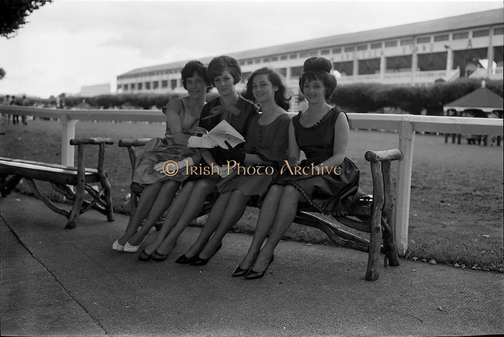 07/08/1962 <br /> 08/07/1962 <br /> 07 August 1962 <br /> Bradmola Nylons fashion stand at the Dublin Horse show at the RDS, Ballsbridge, Dublin, Tuesday. Image shows Models Loreto O'Hehir; Marie Baumann; Mary Finan and Maura Coughlan.