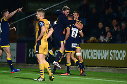 Michael Dowsett of Worcester Warriors celebrates his try with team mates  - Mandatory by-line: Dougie Allward/JMP - 04/11/2016 - RUGBY - Sixways Stadium - Worcester, England - Worcester Warriors v Bristol Rugby - Anglo Welsh Cup