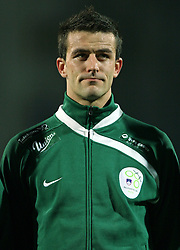 Mirnes Sisic (8) of Slovenia before the UEFA Friendly match between national teams of Slovenia and Denmark at the Stadium on February 6, 2008 in Nova Gorica, Slovenia. This was the first time he played for Slovenia national team. Slovenia lost 2:1. (Photo by Vid Ponikvar / Sportal Images).