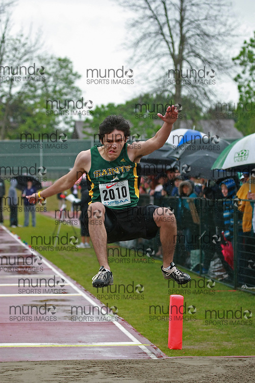 Justin Lukasek of St Patrick HS - Thunder Bay competes in the junior boys long jump at the 2013 OFSAA Track and Field Championship in Oshawa Ontario, Thursday,  June 6, 2013.<br /> Mundo Sport Images / Sean Burges