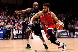 Lewis Champion of Bristol Flyers takes on Rahmon Fletcher of Newcastle Eagles - Photo mandatory by-line: Robbie Stephenson/JMP - 01/03/2019 - BASKETBALL - Eagles Community Arena - Newcastle upon Tyne, England - Newcastle Eagles v Bristol Flyers - British Basketball League Championship