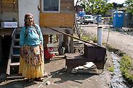 Rome April 8 2008.Rom's camp Casilino 900.Romani woman of Bosnia