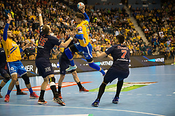 Branko Vujovic vs Luka Stepancic and Louis Despreaux during handball match between RK Celje Pivovarna Lasko (SLO) and Paris Saint-Germain HB (FRA) in VELUX EHF Champions League 2018/19, on February 24, 2019 in Arena Zlatorog, Celje, Slovenia. Photo by Peter Podobnik / Sportida