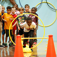 Thomas Wells | Buy at PHOTOS.DJOURNAL.COM<br /> Courtlin Stokes begins his first run through an obstacle course set up at Lawhon Elementary School Tuesday for Health Week.