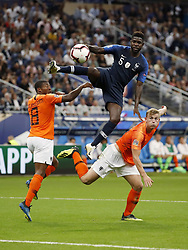 (L-R) Georginio Wijnaldum of Holland, Samuel Umtiti of France, Matthijs de Ligt of Holland, during the UEFA Nations League A group 1 qualifying match between France and The Netherlands on September 09, 2018 at Stade de France in Saint Denis,  France