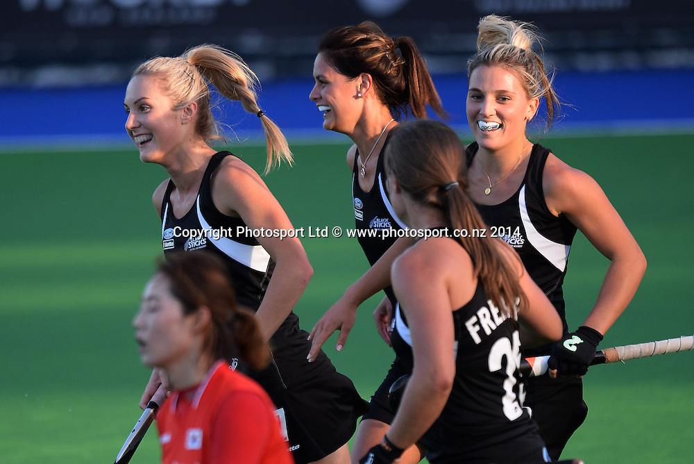 Players celebrate Gemma Flynn's goal. International Womens Hockey. New Zealand Black Sticks v Korea. Auckland. New Zealand. Friday 28 March 2014. Photo: Andrew Cornaga / www.photosport.co.nz